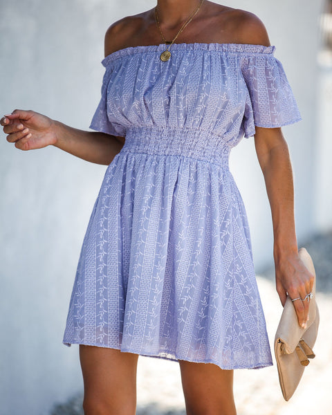 Riesling Embroidered Off The Shoulder Dress - Lavender