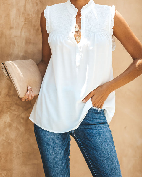 Honey, I'm Home Smocked Top - Ivory