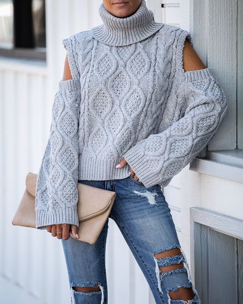 Hot And Cold Shoulder Turtleneck Sweater - Heather Grey - FINAL SALE