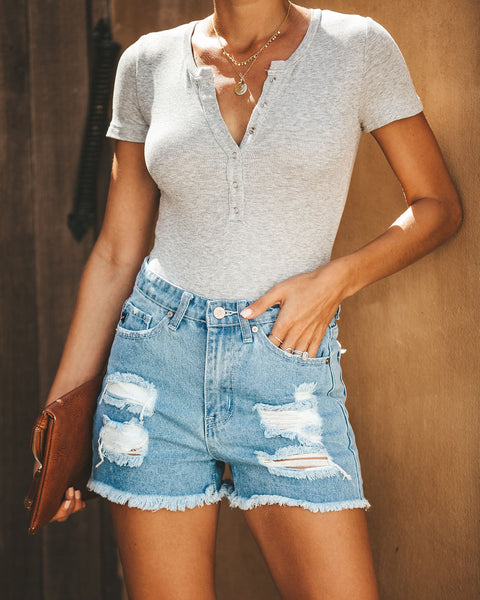 Keep It Real Distressed High Rise Denim Shorts - FINAL SALE