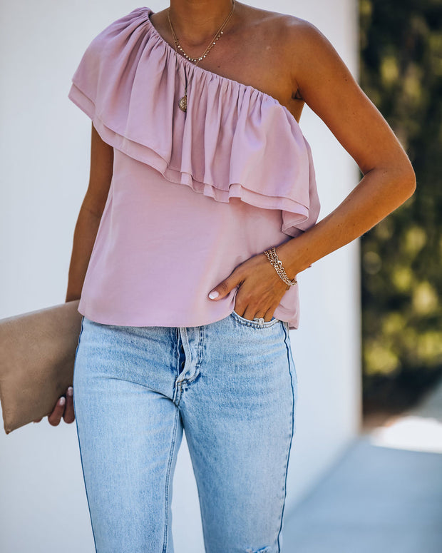 Isra One Shoulder Ruffle Blouse - Mauve - FINAL SALE