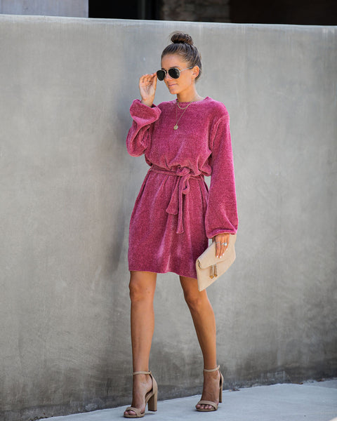 Hold Hands Chenille Sweater Dress - Dark Rose - FINAL SALE