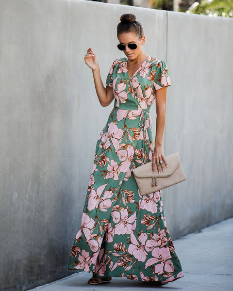 Himalayan Floral Wrap Maxi Dress