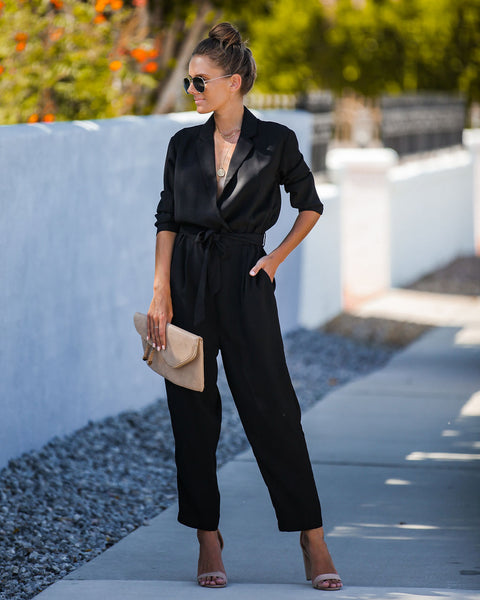 Suit + Tie Pocketed Blazer Jumpsuit