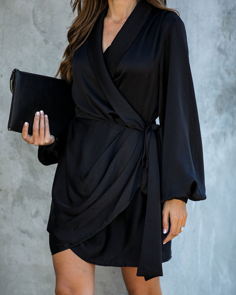 Miss Mistletoe Satin Wrap Dress - Black