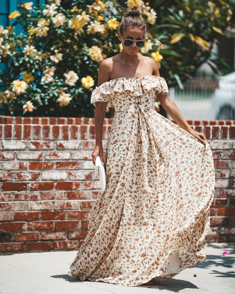 Gone With The Wind Off The Shoulder Maxi Dress - FINAL SALE