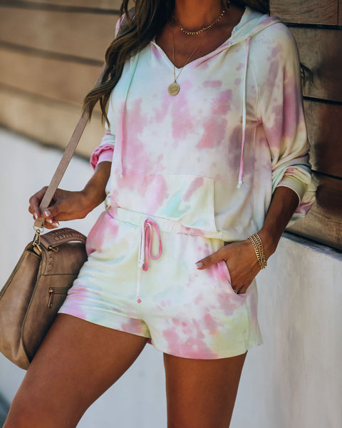 Romance In The Air Pocketed Tie Dye Knit Shorts