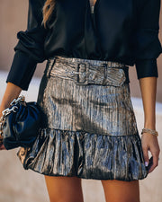 Kathryn Metallic Belted Mini Skirt