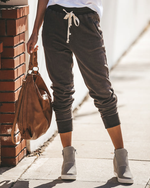 Don't Sweat It Cotton Pocketed Drawstring Joggers - Charcoal - FINAL SALE