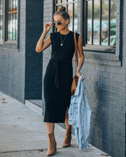 Annie Knit Tie Midi Dress - Black