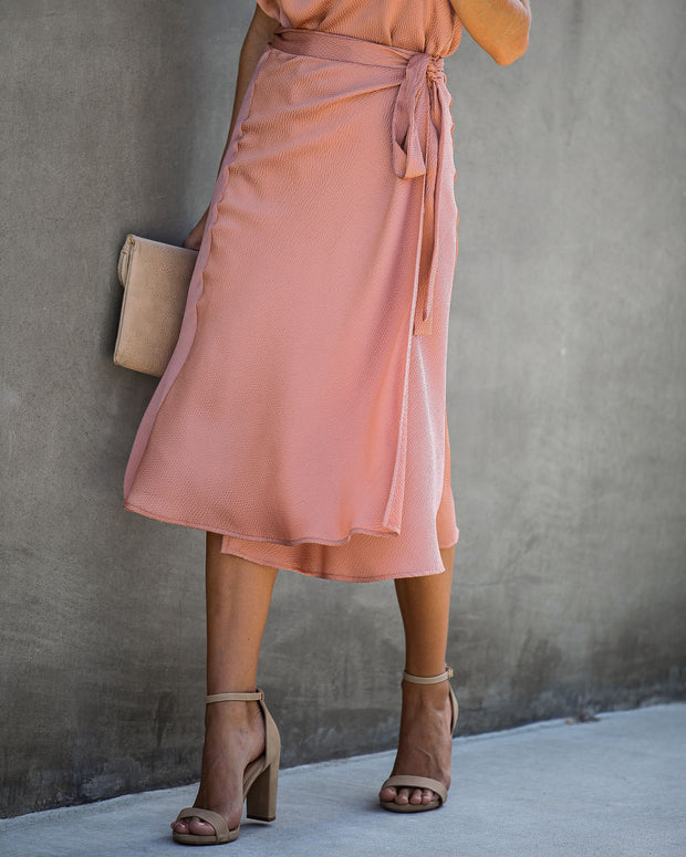 Sophisticated Living Textured Wrap Midi Skirt - Foundation - FINAL SALE
