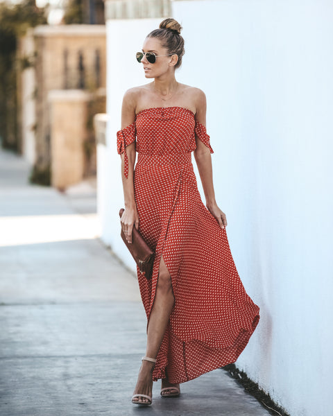 London Lover Off The Shoulder Maxi Dress - Rust - FINAL SALE