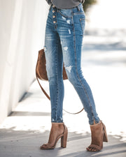 Ultimate High Rise Split Ankle Distressed Skinny