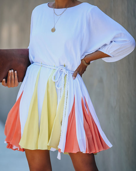 Fine Sunshine Colorblock Rope Tie Dress