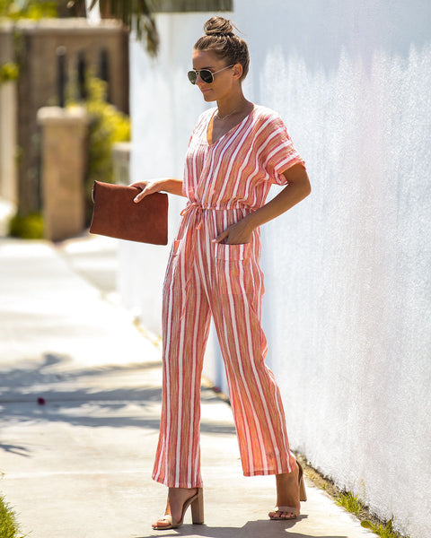 Fruity Striped Cotton Pocketed Jumpsuit