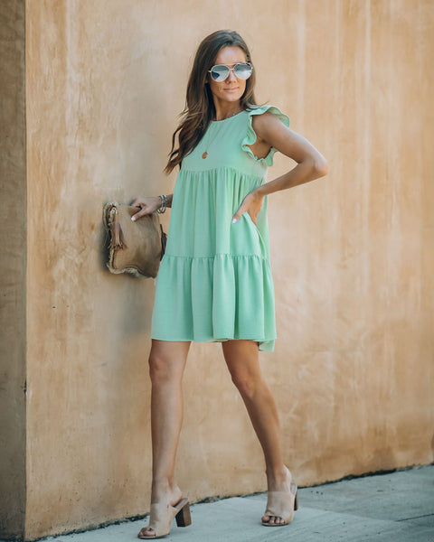 Sing That Melody Tiered Babydoll Dress - Sage