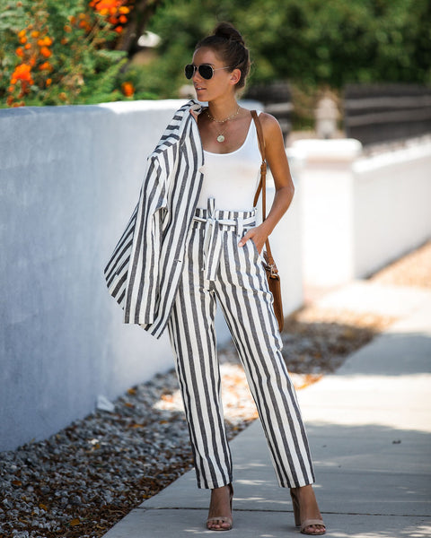 Extended Vacay Striped Cotton Pocketed Tie Pants - FINAL SALE