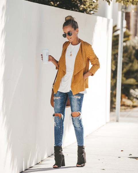 Find Yourself Faux Suede Pocketed Jacket - Mustard