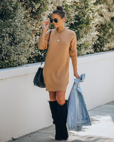 Chasing A Dream Distressed Sweater Dress - Tan