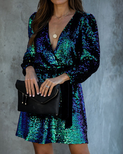 New Year, New Me Sequin Tie Dress - FINAL SALE