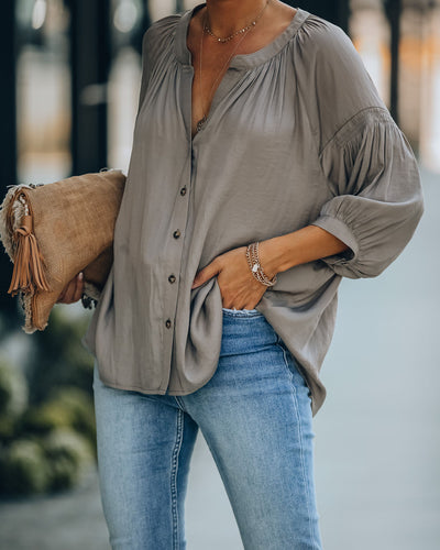 Inspired Button Down Peasant Top - Mochaccino