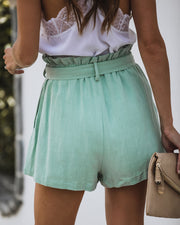 Positively Pastel Pocketed Linen Blend Ruffle Shorts - FINAL SALE