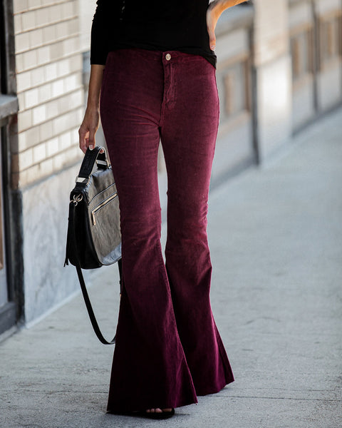 Aggie Pocketed Corduroy Bell Bottoms - Wine  - FINAL SALE