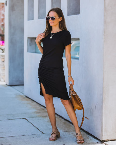 Simplicity Is Key Ruched Knit Dress