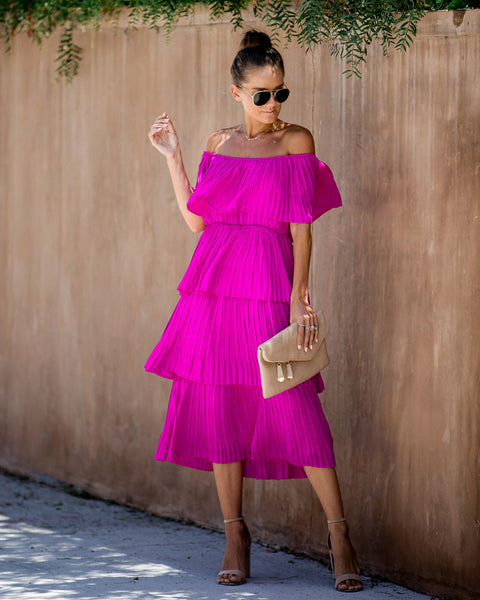 Quickstep Off The Shoulder Tiered Midi Dress - Magenta