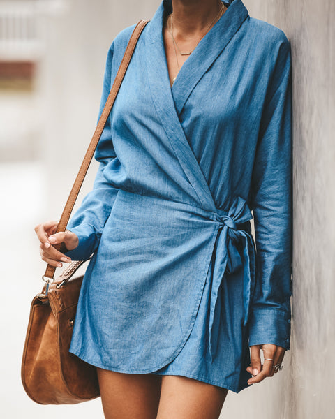 Franklin Denim Wrap Romper - FINAL SALE