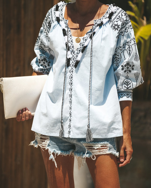 Majesty Cotton Embroidered Top - FINAL SALE