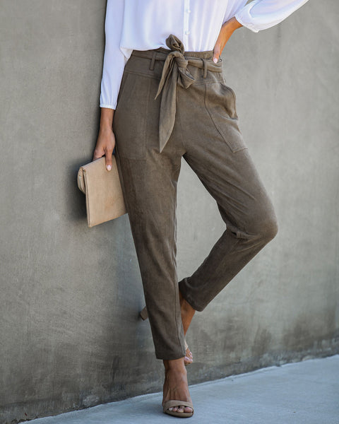 Seasonal Refresh Pocketed Faux Suede Pants - Olive  - FINAL SALE