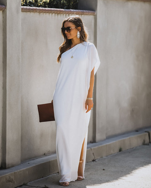 Blown Away One Shoulder Statement Maxi Dress - Off White
