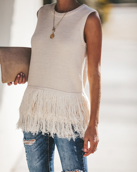 Feels Just Right Sleeveless Fringe Sweater - Natural