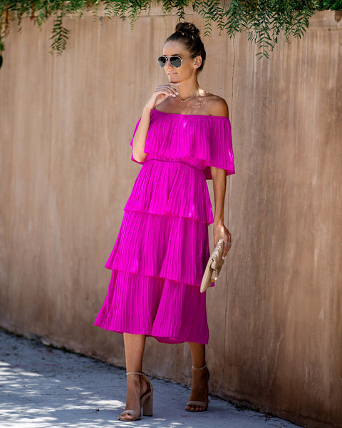 Quickstep Off The Shoulder Tiered Midi Dress - Magenta - FINAL SALE