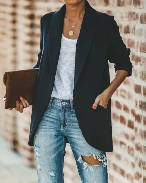 Bellissimo Pocketed Blazer - Dark Navy