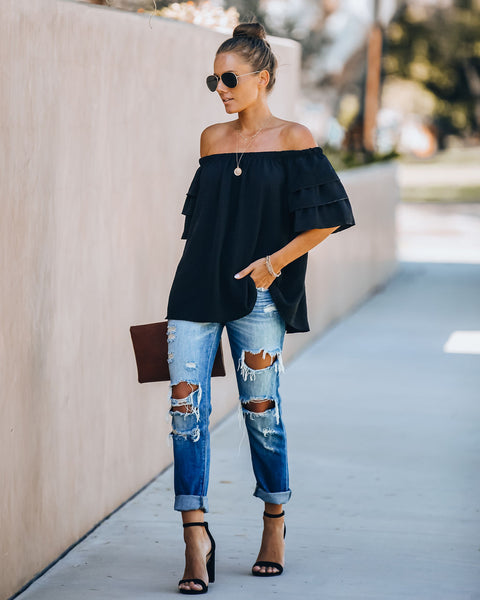 Allure Off The Shoulder Tiered Sleeve Blouse - Black