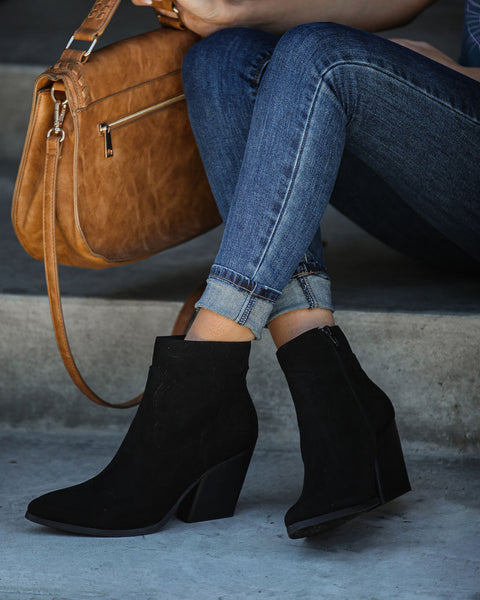 Saloon Faux Suede Heeled Bootie - Black