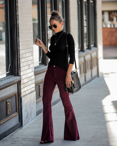 Aggie Pocketed Corduroy Bell Bottoms - Wine