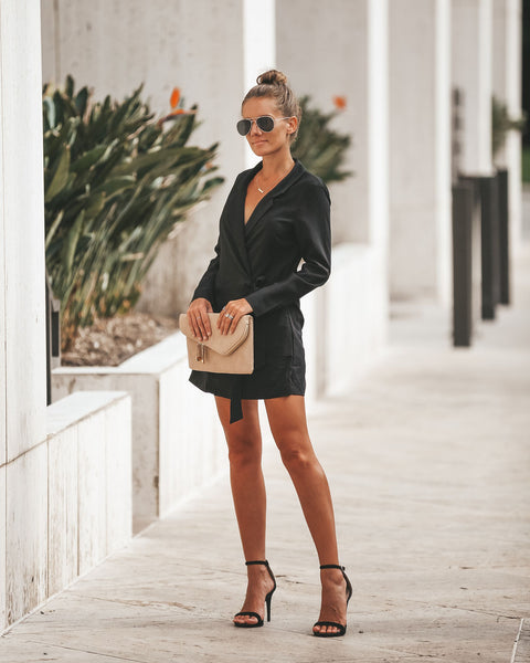 Secret Agent Pocketed Wrap Blazer Romper