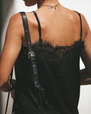 Night Away Lace Slip Dress - Black