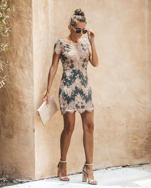 Aries Lace Dress - Olive/Beige