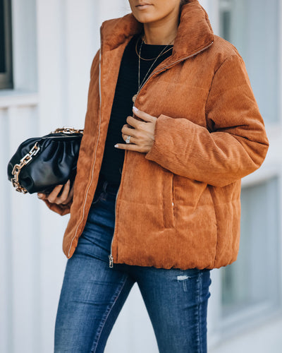 Krissy Pocketed Corduroy Puffer Jacket - Camel
