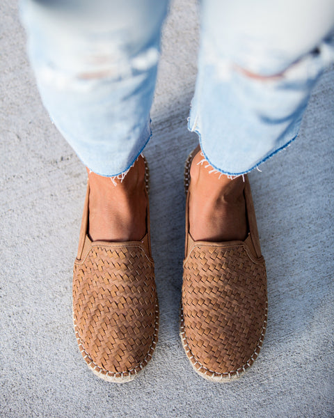 Adobe Woven Faux Leather Espadrilles - Tan - FINAL SALE