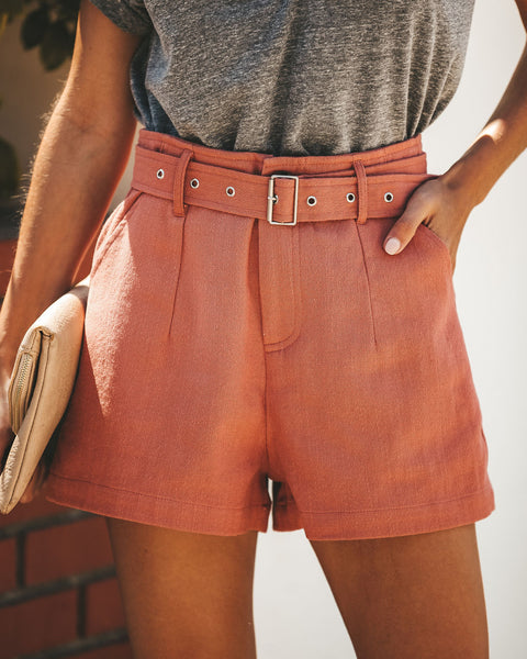 Here Comes Summer Cotton Pocketed Shorts - Mauve