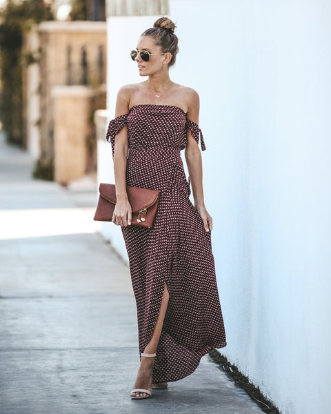 London Lover Off The Shoulder Maxi Dress - Wine - FINAL SALE