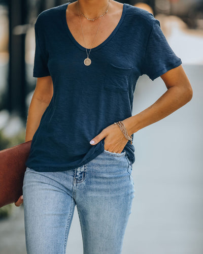 Kinsley V-Neck Pocket Tee - Uniform Blue