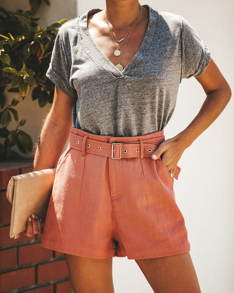 Here Comes Summer Cotton Pocketed Shorts - Mauve - FINAL SALE