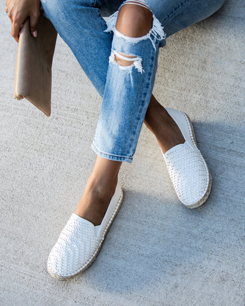 Adobe Woven Faux Leather Espadrilles - White - FINAL SALE