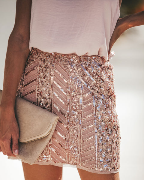 Great Gatsby Sequin Mini Skirt - Azalea Pink